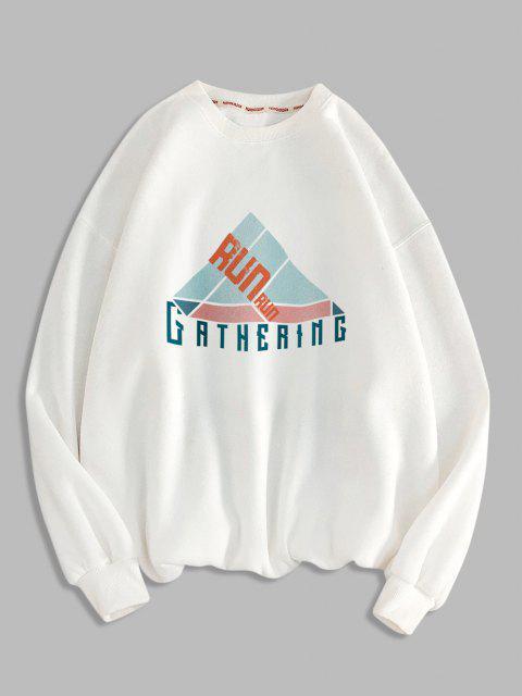 Sweat-shirt Géométrique Lettre Imprimée à Col Rond - Blanc M Mobile