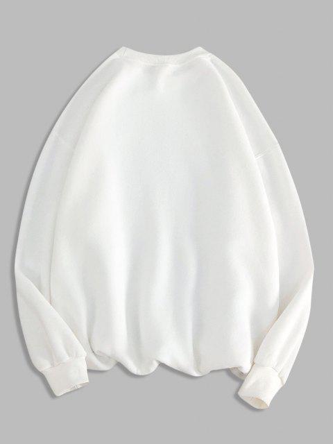 Sweat-shirt Géométrique Lettre Imprimée à Col Rond - Blanc 2XL Mobile