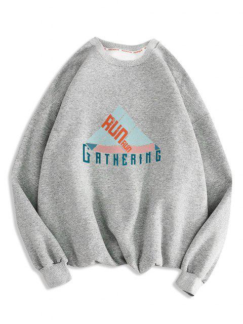 Sweat-shirt Géométrique Lettre Imprimée à Col Rond - Gris Clair M Mobile