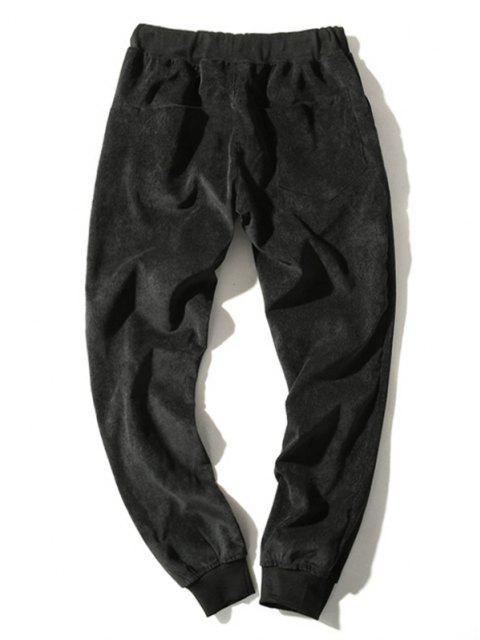 Pantalones de Pana con Cintura Elástica y Cordón - Negro M Mobile