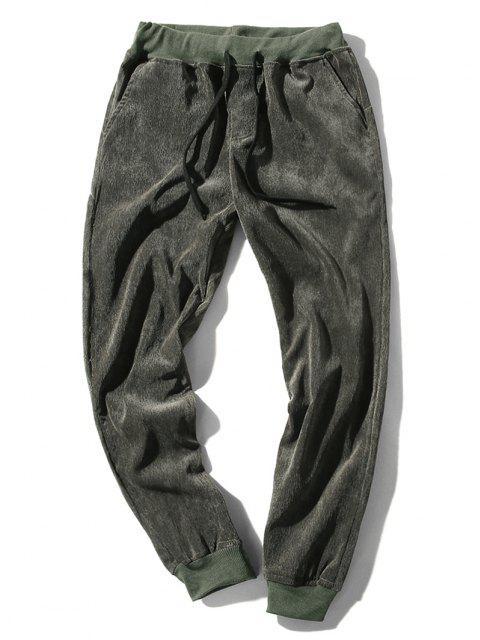 fashion Elastic Waist Solid Beam Feet Corduroy Pants - ARMY GREEN S Mobile