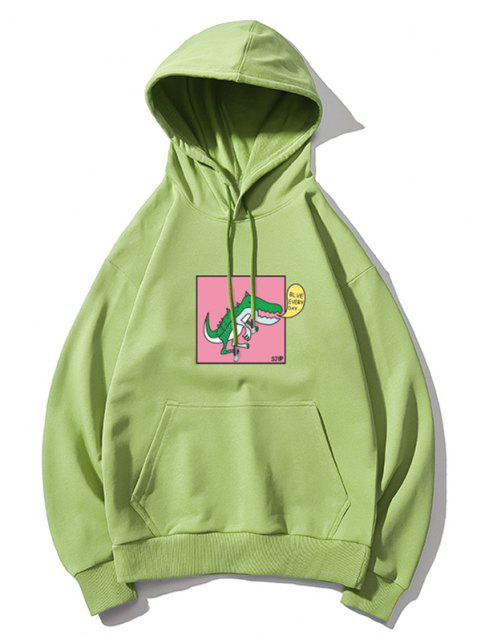 shop Cartoon Dinosaur Graphic Drop Shoulder Casual Hoodie - GREEN 3XL Mobile