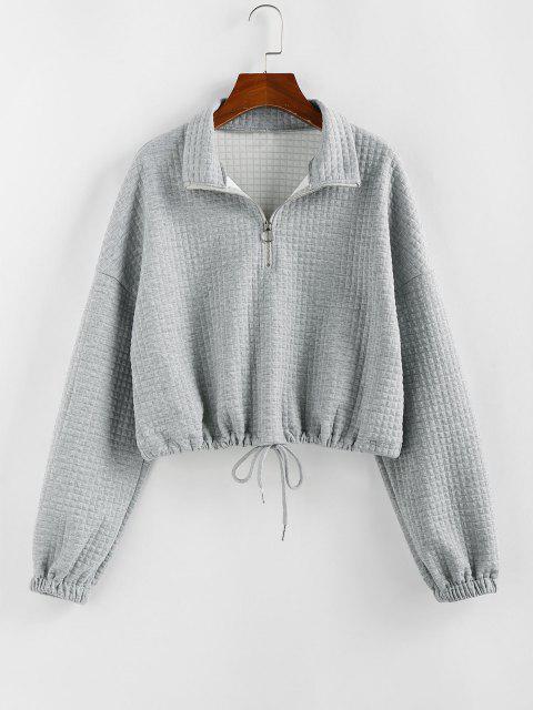 ZAFUL Zipper Drawstring Sweatshirt - أوزة رمادية XL Mobile