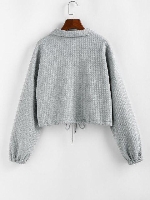 women's ZAFUL Zipper Drawstring Sweatshirt - GRAY GOOSE L Mobile