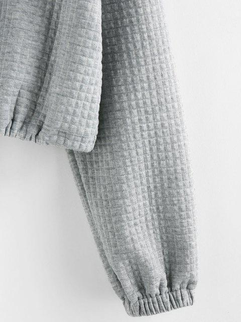 fashion ZAFUL Zipper Drawstring Sweatshirt - GRAY GOOSE S Mobile