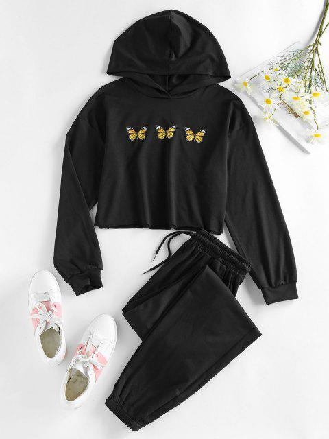 lady ZAFUL Cropped Butterfly Print Hoodie and Pants Sport Set - NIGHT M Mobile