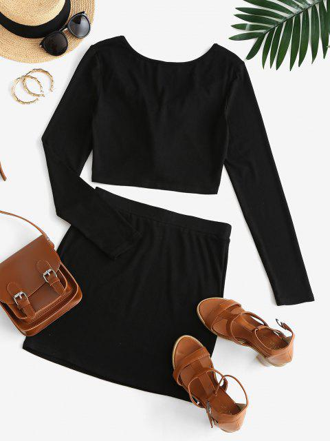 sale ZAFUL Ruffle Front Tie Crop Top and Mini Bodycon Skirt Set - BLACK L Mobile