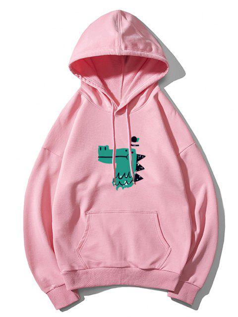 best Dinosaur Head Graphic Drop Shoulder Pullover Hoodie - PINK M Mobile