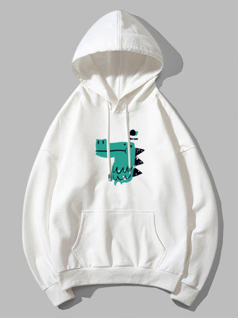 fashion Dinosaur Head Graphic Drop Shoulder Pullover Hoodie - WHITE S Mobile
