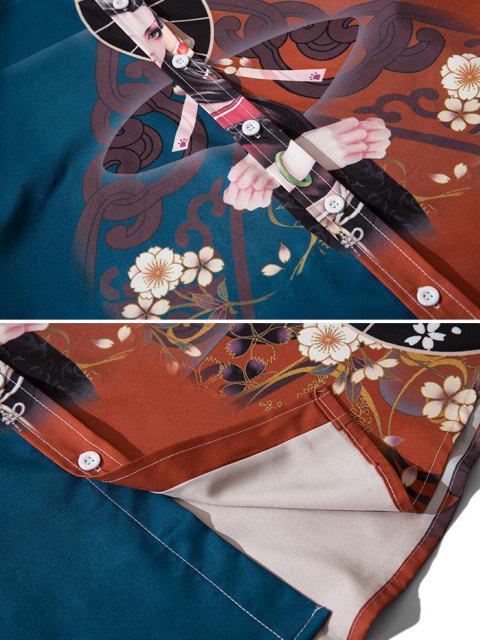 Camisa con Estampado de Hombro Caído - Vino Tinto M Mobile