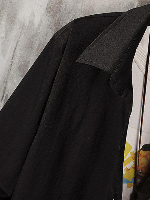 unique Long Sleeve Letter Print Pocket Graphic Shirt - BLACK 2XL Mobile