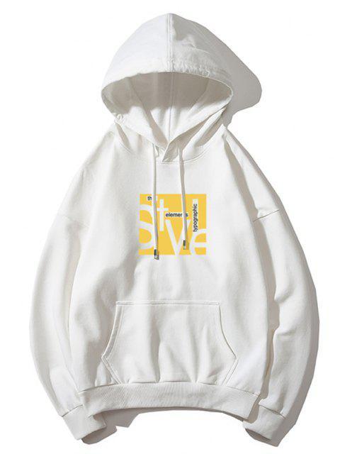 Stil Graphik Tasche Tunnelzug Hoodie - Weiß M Mobile