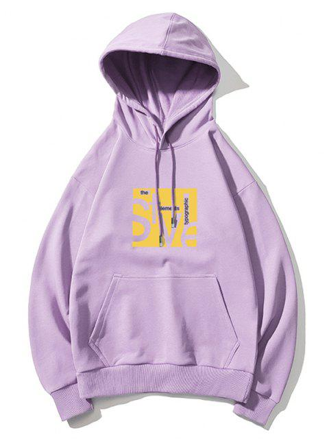 chic Style Graphic Pouch Pocket Drawstring Hoodie - LIGHT PURPLE L Mobile