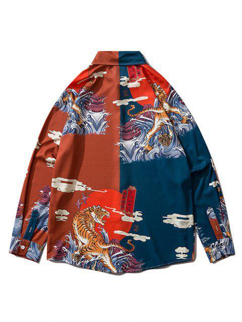 Camisa Oriental de Manga Larga de Estampado de Animal - Vino Tinto M Mobile