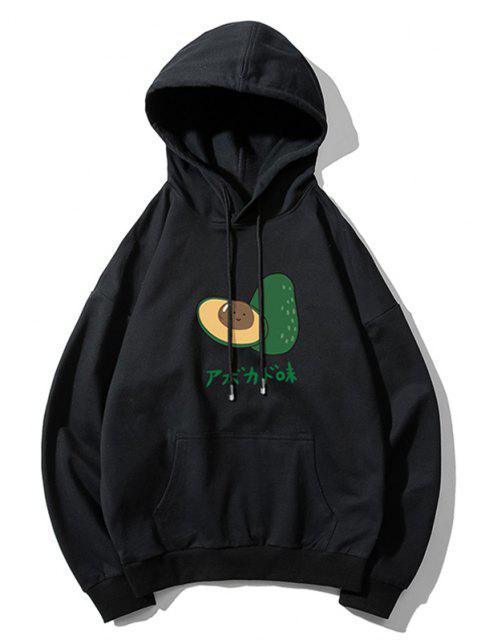 fancy Casual Avocado Graphic Drop Shoulder Hoodie - BLACK 2XL Mobile