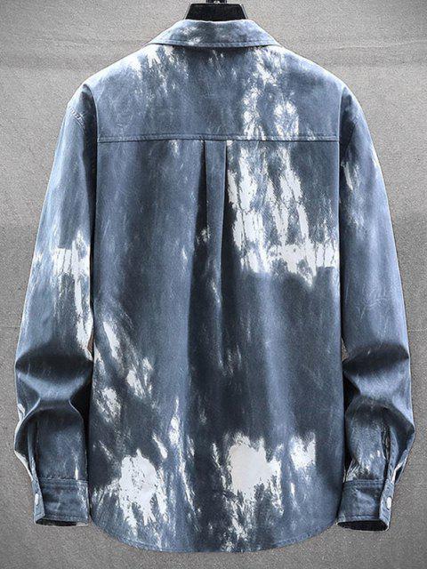 ladies Tie Dye Letter Print Long Sleeve Shirt - MIST BLUE XS Mobile