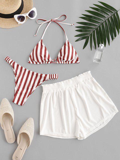 ZAFUL Gestreifte Gerippte Rüsche Elastische Seite Dreiteilige Stück Bikini Badebekleidung - Rot M Mobile