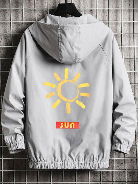buy SUN Graphic Zip Up Hooded Jacket - PLATINUM XL Mobile