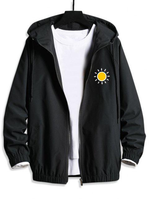 Veste à Capuche Décontractée Graphique Soleil - Noir XS Mobile