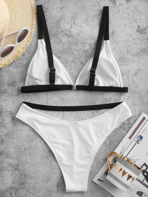 new ZAFUL Contrast Binding Ribbed High Cut Bikini Swimwear - WHITE S Mobile
