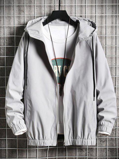 latest Cool Dog Print Full Zip Windbreaker Jacket - PLATINUM XL Mobile