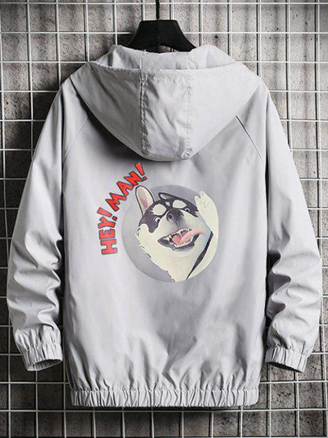 latest Cool Dog Print Full Zip Windbreaker Jacket - PLATINUM S Mobile