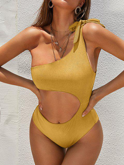 outfits ZAFUL Ribbed One Shoulder Cutout One-piece Swimsuit - DEEP YELLOW L Mobile
