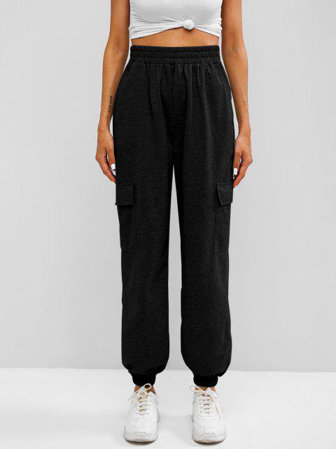 online Flap Pocket French Terry Cargo Jogger Pants - BLACK S Mobile