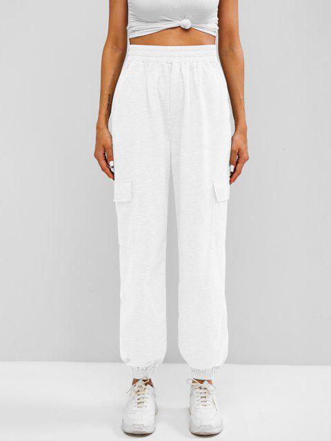 shop Flap Pocket French Terry Cargo Jogger Pants - WHITE L Mobile