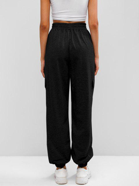latest Flap Pocket French Terry Cargo Jogger Pants - BLACK XL Mobile