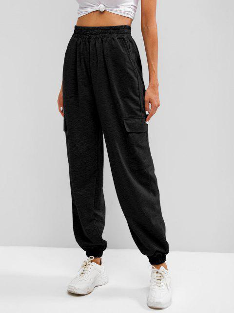 online Flap Pocket French Terry Cargo Jogger Pants - BLACK M Mobile