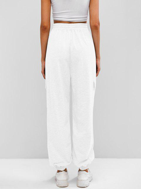 outfit Flap Pocket French Terry Cargo Jogger Pants - WHITE XL Mobile