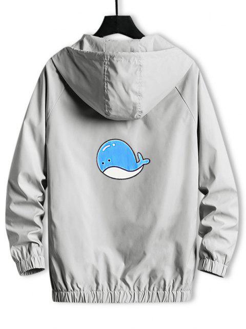 Hooded Cartoon Fish Back Windbreaker Jacket - رمادي فاتح L Mobile