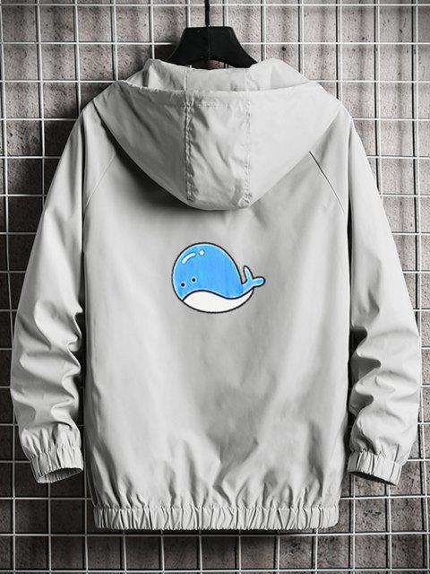 buy Hooded Cartoon Fish Back Windbreaker Jacket - LIGHT GRAY L Mobile