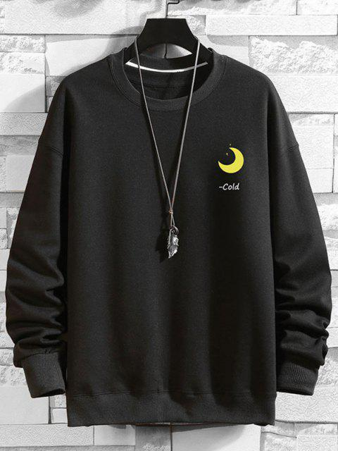 unique Chinese Characters Moon Graphic Drop Shoulder Casual Sweatshirt - BLACK 3XL Mobile