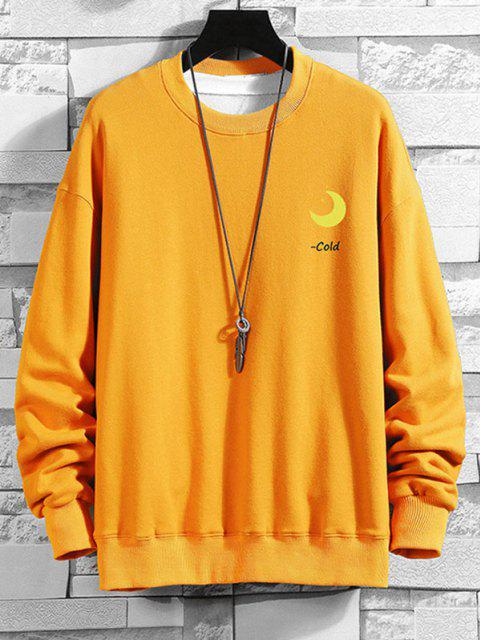 women's Chinese Characters Moon Graphic Drop Shoulder Casual Sweatshirt - BEE YELLOW M Mobile