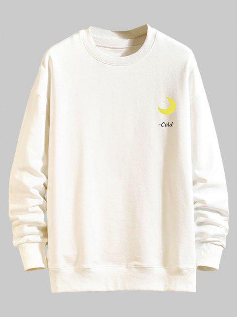 women's Chinese Characters Moon Graphic Drop Shoulder Casual Sweatshirt - WHITE XL Mobile