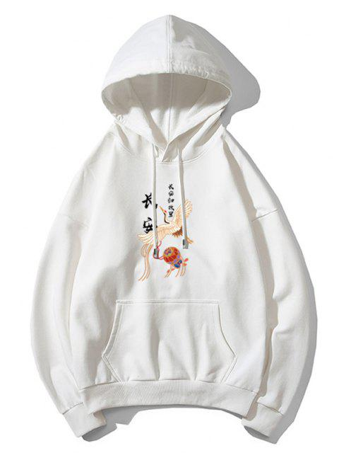 unique Flying Crane Chinese Character Print Oriental Hoodie - WHITE 2XL Mobile