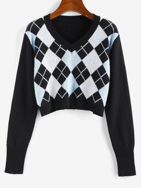 women's ZAFUL Argyle V Neck Crop Sweater - BLACK S Mobile