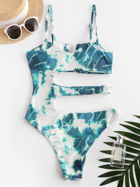 ladies ZAFUL Tie Dye Ribbed V Wired Cutout One-piece Swimsuit - BLUE L Mobile