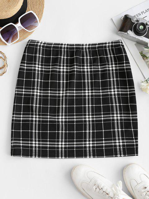 latest ZAFUL Checked Side Slit Skirt - BLACK L Mobile