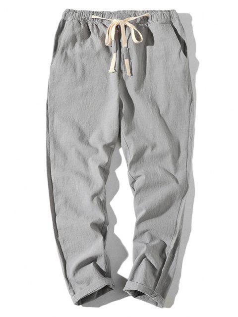 fancy Plain Drawstring Lounge Straight Pants - LIGHT GRAY L Mobile