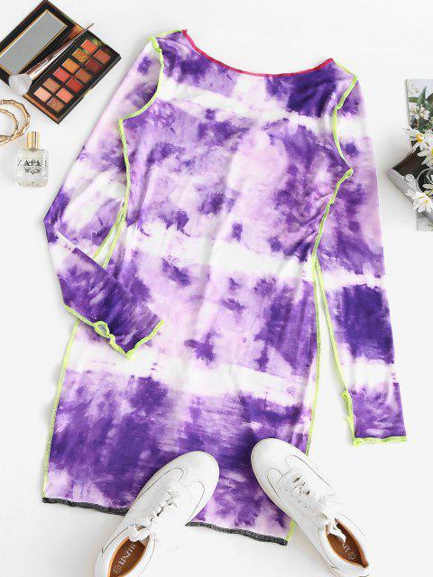 lady Contrast Stitching Tie Dye Long Sleeve Mini Dress - PLUM M Mobile