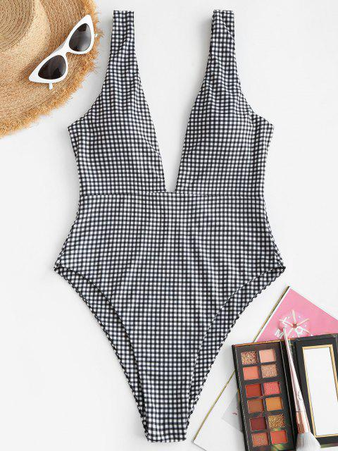 ZAFUL Ribbed Gingham Low Cut One-piece Swimsuit - أسود S Mobile
