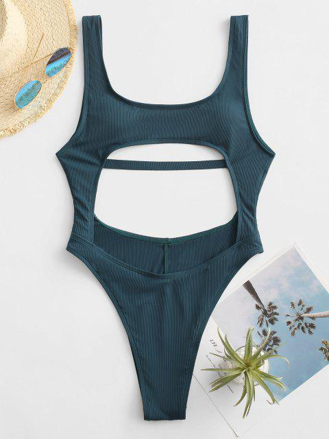 new ZAFUL Cut Out Ribbed Backless One-piece Swimsuit - DEEP BLUE S Mobile