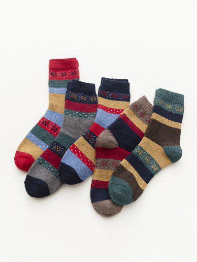 5 Pair Snowflake Striped Woolen Crew Socks Set - Multi