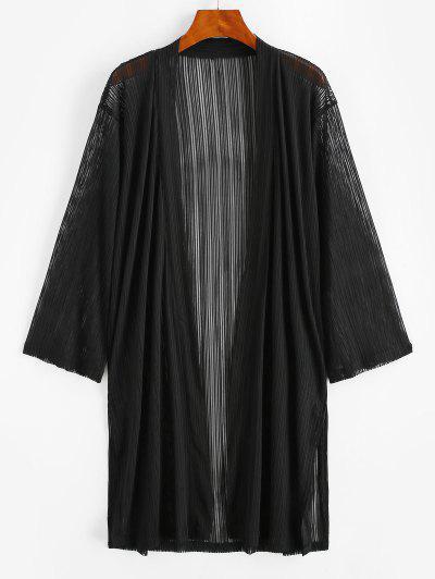 Shadow Stripes Side Slit Longline Cover Up - Black S