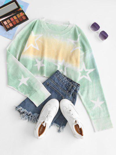 Cropped Tie Dye Star Sweater - Yellow