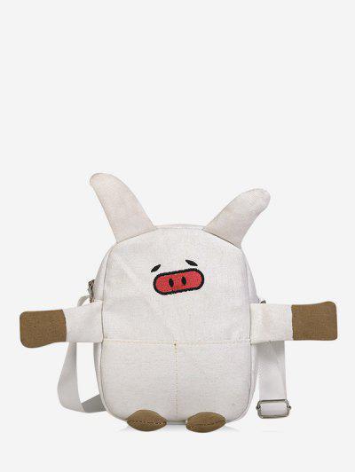 Cartoon Pig Canvas Crossbody Bag - White