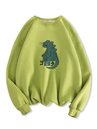 Cartoon Dinosaur Print Drop Shoulder Casual Sweatshirt - Light Green 2xl